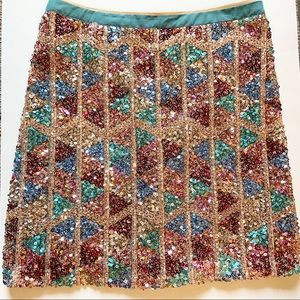 Anthropologie sequin multi color skirt NWT 12